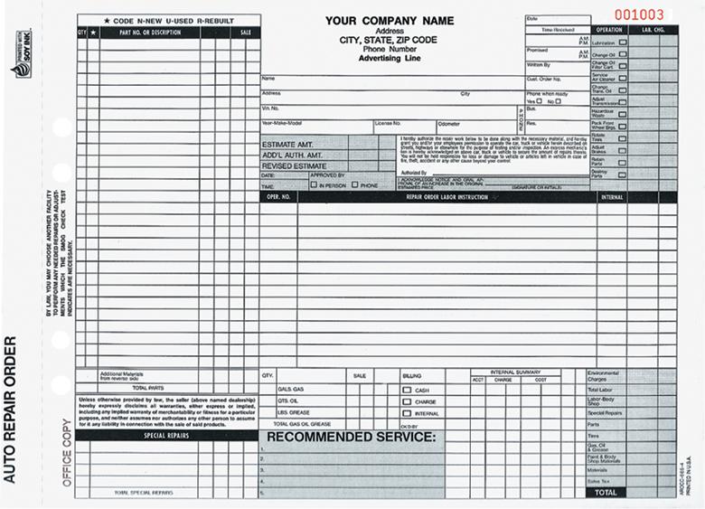 auto repair order form template