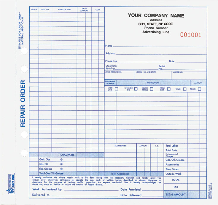service work orders forms