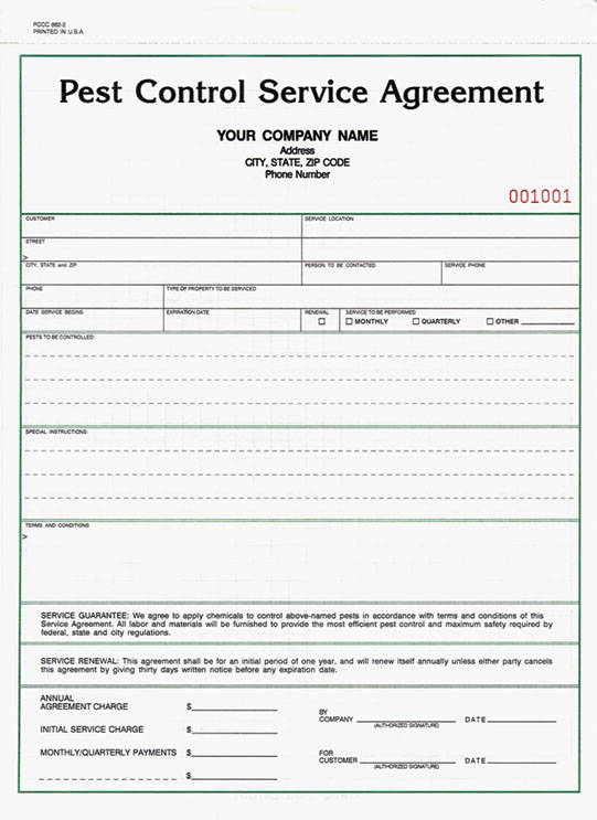Pest control receipt templetes joy studio design gallery for Monthly service contract template